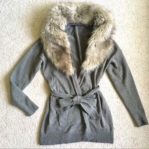 Banana Republic wool faux fur cardigan sweater